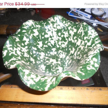 ON Sale 30% off Vintage East Texas Pottery ceramic fluted bowl marked on bottom