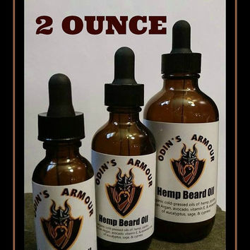 ORGANIC BEARD OIL,  Two Ounce Handmade Organic Hemp Beard Oil, Hemp Seed Oil Beard Tamer, Gift Idea For Him, Handmade Organic Beard Care