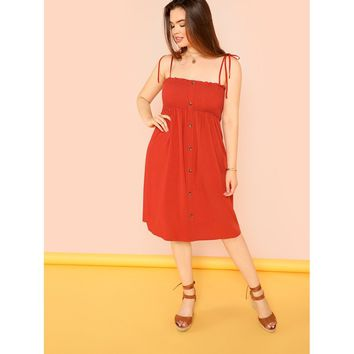 Plus Button Up Shirred Cami Dress