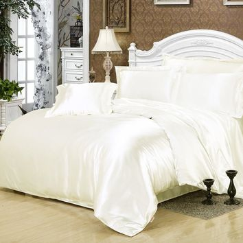Super Soft 4pcs Bedding Sets Romantic Style Silk Bedding Set King Queen Size Comforter Cover Bed Sheet Set Pillowcase