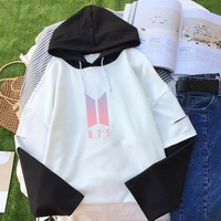 Kpop BTS Hoodies Women Bangtan Boys Sweatshirt EXO Patchwork False 2 Pieces Clothes Kpop Hoodie Pullover Streatwear Tops Bts