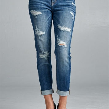 Medium Dark Wash Distressed Cropped Jeans