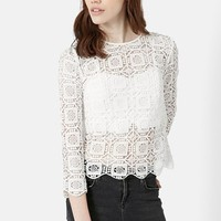 Women's Topshop Three-Quarter Sleeve Crochet Top,