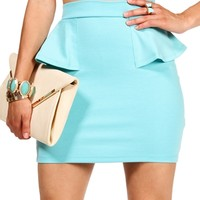 Aquatic Side Peplum Mini Skirt