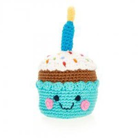 Birthday Cupcake -  Fair Trade Knitted Baby Rattle