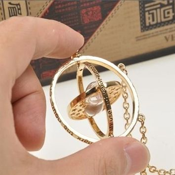 Harry Potter Hermione Granger Rotating Time Turner Necklace Gold Hourglass Collar