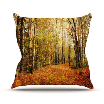 "Sylvia Cook ""Autumn Leaves"" Rustic Throw Pillow"