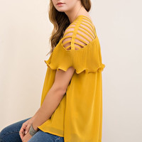 Strappy Top with Ruffle - Mustard