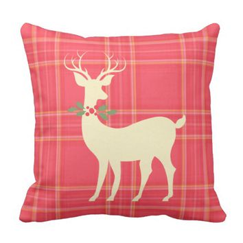 Xmas Deer w Holly Wreath on Red Plaid (cream) Pillows