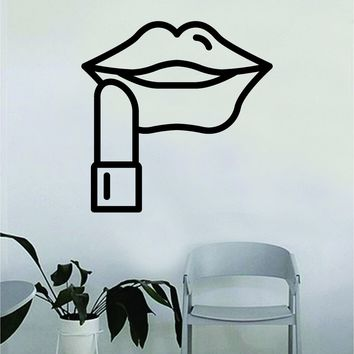 Lipstick Lips Wall Decal Sticker Vinyl Room Decor Art Girls Cute Female Spa Beauty Salon Make Up Teen MUA Beautiful