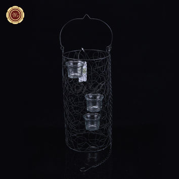 Wr Office Ornaments European Style Hanging Lantern Cylinder Candle Holder /w 3 Tea Light Cup Fashion Home Living Art Craft
