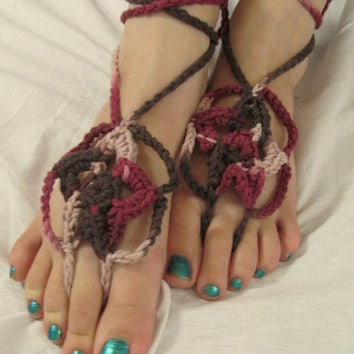 Brown, Pink and Maroon Star Crochet Barefoot Sandals