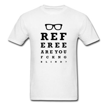 2018 New Fashion Casual Tshirt Hipster Cool O Neck Tops Blind Referee Funny Eye Test Men'S Hot Sale 100% cotton Tee shirt