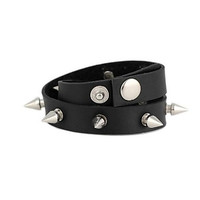 Unisex Punk Style Wrapped Metal Spike Leather Bracelet (1Pc)