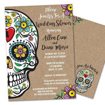 Sugar Skull Wedding Invitations - Sugar Skull Bridal Shower Invitation - Day of The Dead Skull Wedding Shower - Couples Shower - Brown Kraft