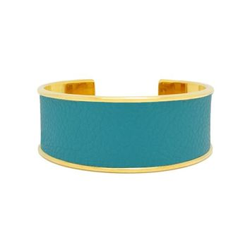 Turquoise Leather Bracelet Cuff Wide