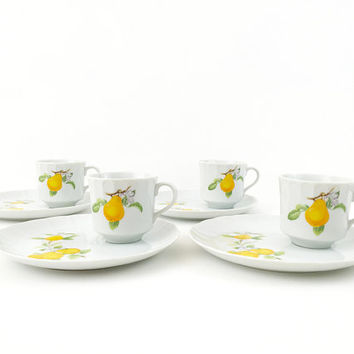 Toscany Fine China Tea Set / Service for 4 / Teacups, Saucers / Made in Japan / Vintage Collection / Unique Servingware / Peartree Pattern