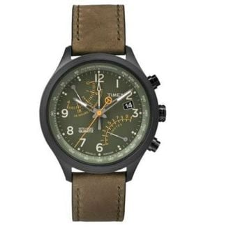 Timex~T2P381~Brown Leather~Black~Indiglo~Intelligent Fly-Back~Mens Watch~$165