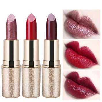 QIC Brand Matte Lips Stick Gold Luxury Makeup Waterproof Long Lasting Pigment Shimmer Metallic Sexy Dark Red Lipstick Lot