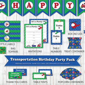 Transportation Themed Birthday, Printable Party Pack, DIY, Train, Truck, Banner, Invitation, Favors, Cupcake Toppers, Decorations, Polka Dot