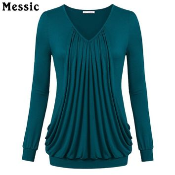 Messic Ruched Cotton Long Sleeve T shirt Women Casual Loose Pleated Female T-shirt Top 2017 Autumn Knitted Cute Tee Shirt Femme