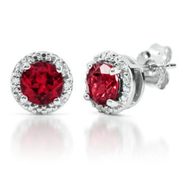 Lab-Created Ruby & Diamond Earrings in Sterling Silver - July - Birthstones - Jewelry - Helzberg Diamonds