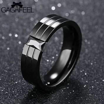 Gagafeel Vintage Engraving Customized Logo Rings For Men Jewelry Stainless Steel Crystal Zircon