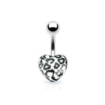 14g Leopard Heart Non Dangle Belly Button Ring Navel Body Jewelry Piercing with Surgical Steel Curved Barbell 14 Gauge