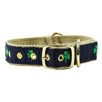 Dog Collar in Navy Ribbon on Khaki Canvas with Shamrocks by Country Club Prep