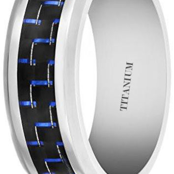 8MM Titanium Ring Wedding Band with Black and Blue Carbon Fiber Inlay | FREE ENGRAVING