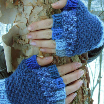 Fingerless gloves - knit half finger, acrylic blend, multicolor #7 - blue navy palette, light blue cuff, MADE to ORDER