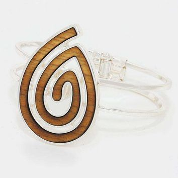 Wooden Swirl Teardrop Hinged Bangle Bracelet
