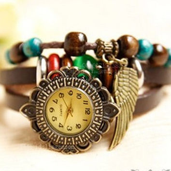 4 Colors -leather wrap watch, leather band wrist watch,wooden beads watch women wrist watches vintage style,Leather watch bracelet -B4