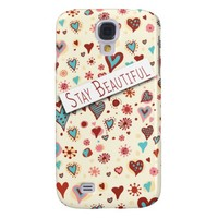 Stay Beautiful - Cute Love Hearts - Romantic Valentine's Galaxy S4 Case