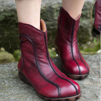 2016 Handmade Retro Leather Short Boots for Women Red Flats Boots,Womens zipper Boots,Fall and Winter Boots, Short Booties with Rubber Soles