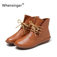 Whensinger 2016 Full Grain Leather Fashion Boots Women Shoes Botas Feminina Botines Mujer Scarpe Donna  Lace Up Handsewn 506