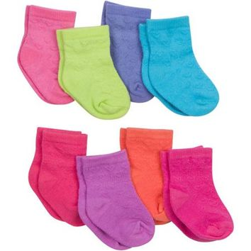 Textured Crew Socks, 8-Pack (Baby Girls) - Walmart.com