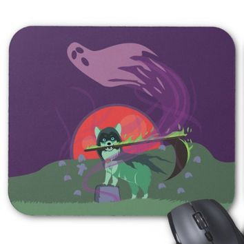 Grim Reaper Puppy Mouse Pad