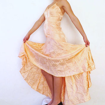 Vintage Pink Orange Salsa Flamenco Dancer Dress Long Maxi Dress Flouncy Ruffled Skirt Size Small Petite Satin 80s Prom Gown Bridesmaid 90s