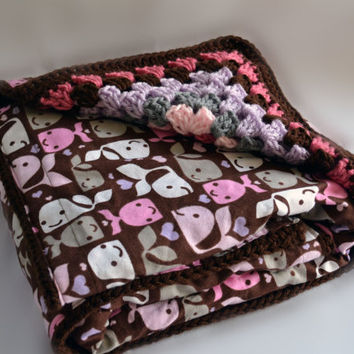 Brown whale reversible blanket, crochet baby blanket, nursery decor, baby blanket, granny square baby blanket, afghan, travel blanket