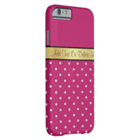 Gold Monogram Elegant Peony Red & White Polka Dots iPhone 6 Case