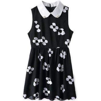 Stylish Turn-Down Collar Sleeveless Floral Print Faux Pearl Embellished Slimming Women's Dress