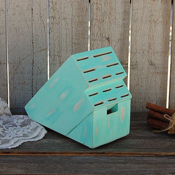 Knife Block, Upcycled, Shabby Chic, Hand Painted, Mint Green, Steak Knife Block, Beach Kitchen Decor
