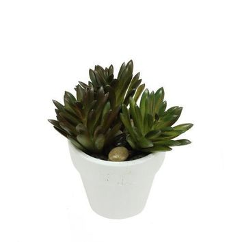 """4"""" Decorative Artificial Green and Red Spring Succulent in a Round White Pot with Stones"""