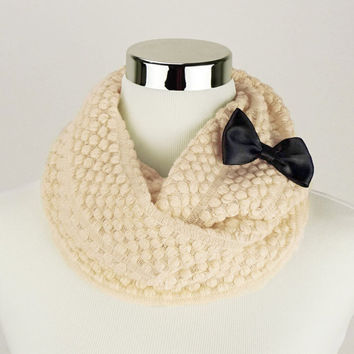 Cream Scarf Custom Bow Cream Knitted Scarf Cream Crochet Infinity Scarves Cream Knitted Infinity Scarves Cream Knit Infinity Scarf Bow Scarf