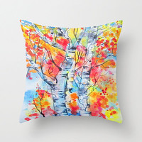 Flames of Autumn Art Pillow Abstract Alders