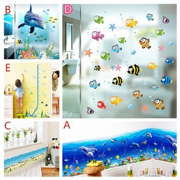 Funny Dolphin Ocean Fishes Wall Stickers Living Room Mural Art Home Decor Kitchen Decals