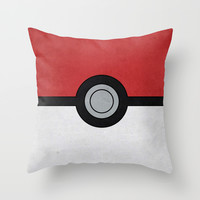 Minimal Pokéball Poster - Pokemon Classic Throw Pillow by Jorden Tually Art