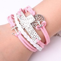 Rope Bracelet Baby Pink Sailor Cross