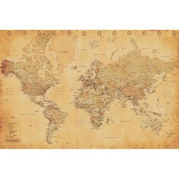 DCCKIS3 Antique World Map 24x36 Standard Wall Art Poster